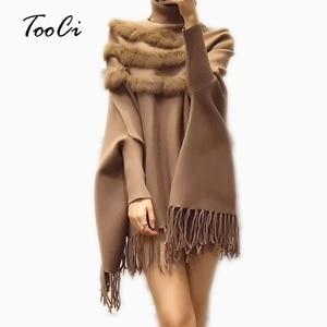 Image 1 - נשים אמיתי ארנב פרווה גלימת סוודר מעיל חדש הגעה אופנה אביב ליידי גבוהה צווארון בת שרוולים טאסל פונצ ו סוודר מעיל