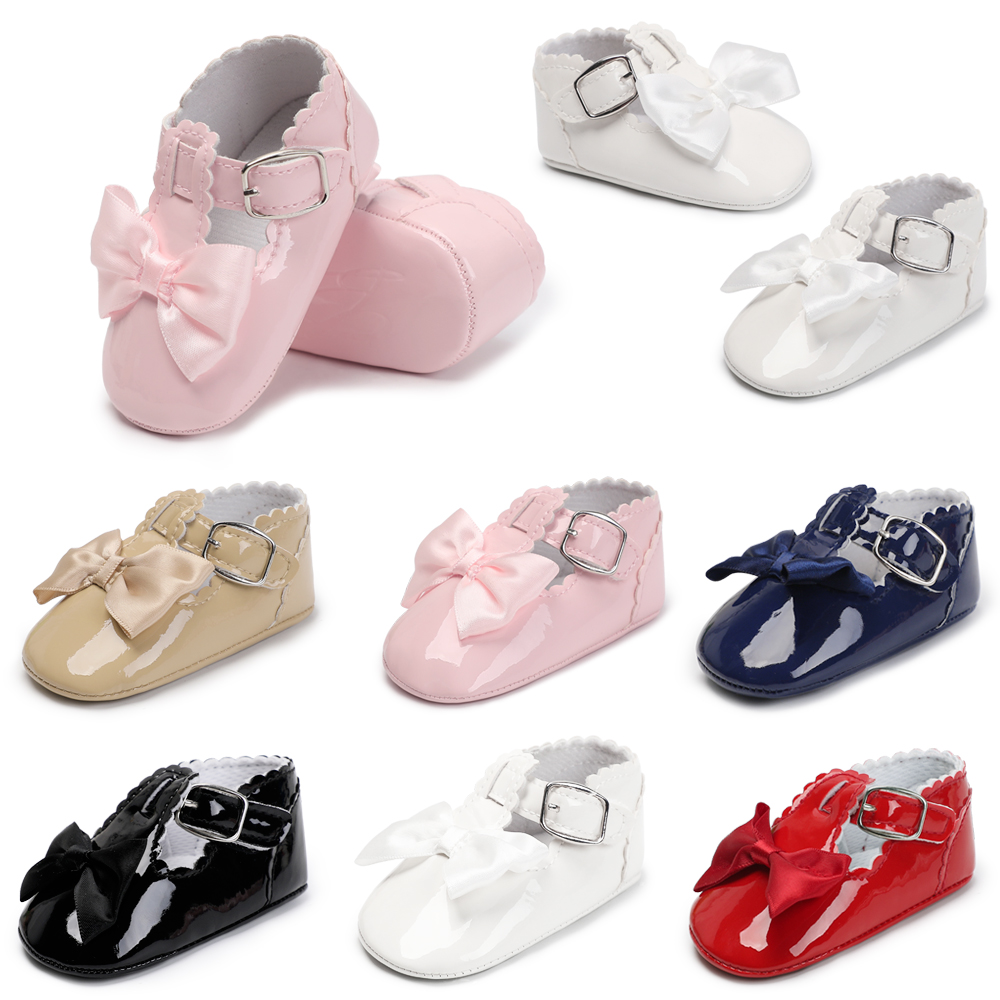 PU Leather Baby Girl Shoes Brand  Handmade Cute First Walkers Princess Bow Infant Baby Booties Spring Autumn Size 1 2 3