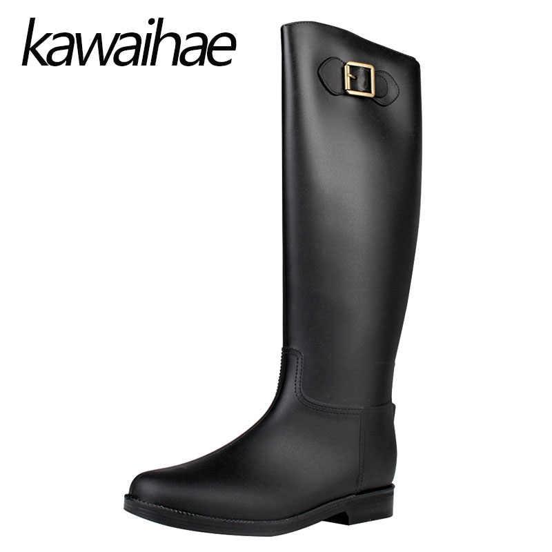 Botas altas de PVC para mujer, botas de goma, Botas de lluvia impermeables para mujer, botas de montar para caballero de marca Kawaihae, 908