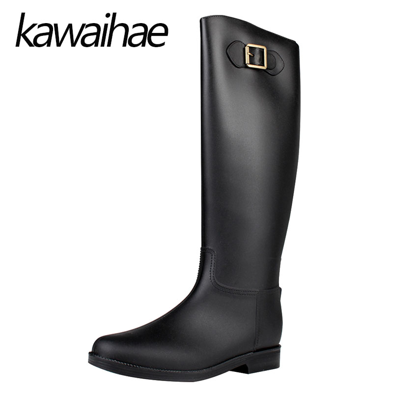 PVC Knee High Women Boots Rubber Shoes Female Waterproof Rainboots Kawaihae Brand Knight Riding Boots 908