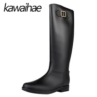 PVC Knee High Women Boots Rubber Shoes Female Waterproof Rainboots Kawaihae Brand Knight Riding Boots