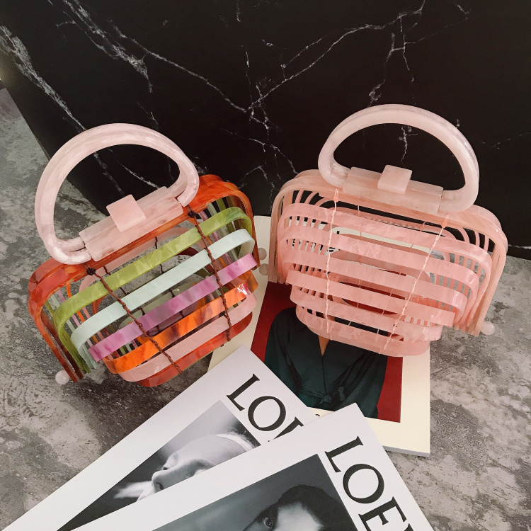 18 Acrylic Handbag Ins Fashion Blogger Holiday Beach Wind Wild Acrylic Bird Cage Bag Brand Luxury Ins Popular Designer beach