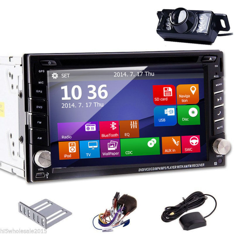 Free camera + 6.2 inch Touch Screen double din 2DIN In Dash GPS Nav Car DVD Player Bluetooth Auto Stereo Radio HD Touchscreen