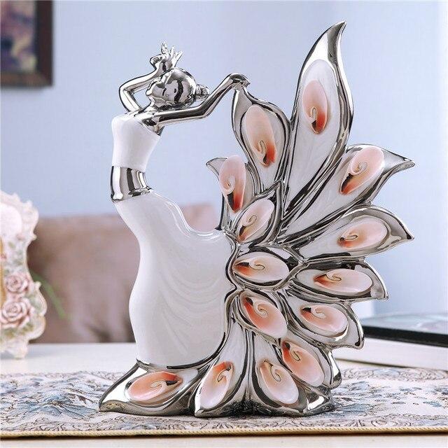 Ceramic Gift Ideas Porcelain Peacock Dancer Figurines Modern Brief Home  Ceramic Decoration