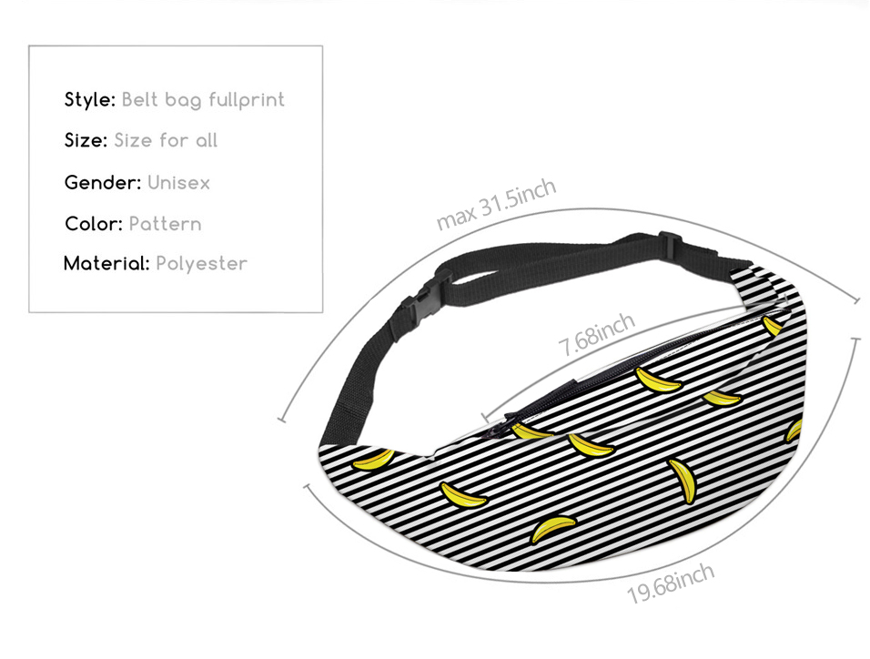 Deanfun 3D Printed Waist bags Pack Striped with Banana Pattern  Adjustable Band for Outdoors Fanny Packs YB20