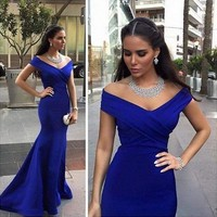 Royal Blue Satin Mermaid Evening Dresses 2018 Off Shoulder Zipper Pleated Long Sexy Red Carpet Celebrity Formal Prom Party Gowns