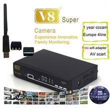 V8 супер + 1 шт. wi-fi или нет wi-fi powervu dvb-s2 поддержка 3 г newcad iptv спутниковый ресивер freesat v8 супер iptv z5 мини