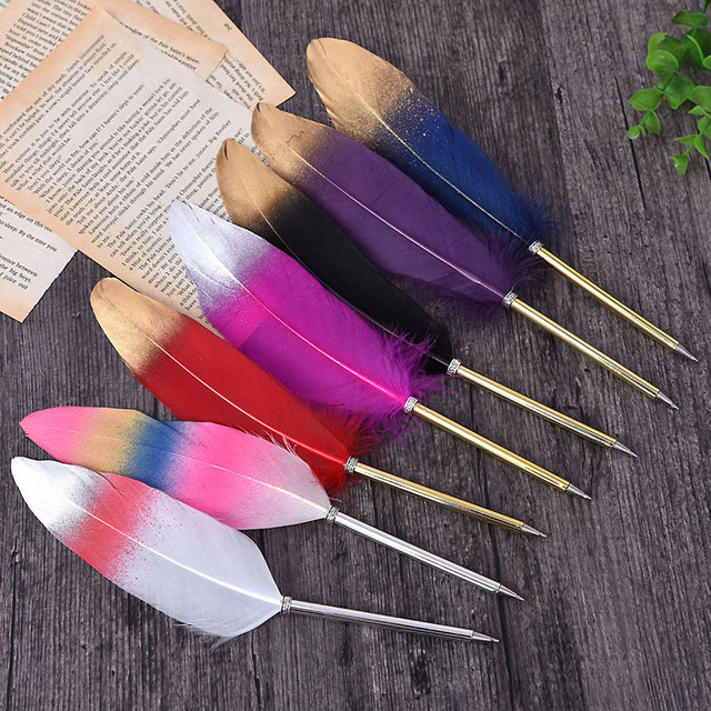 1Pc Cute Feather Ballpoint Pens Kawaii Plush Ball Pens Gold Powder Pens For Writing School Office Supplies Novelty Stationery 2