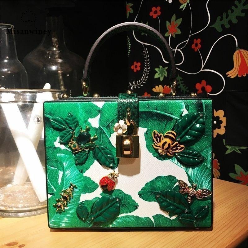 Box Tragbare Tasche Perlen Weiblichen Leder Paket 2017 Crossbody Grün Beutel Misanwiney Neue Insekten Kleine Grün Schmuck wvqnxXB7FA