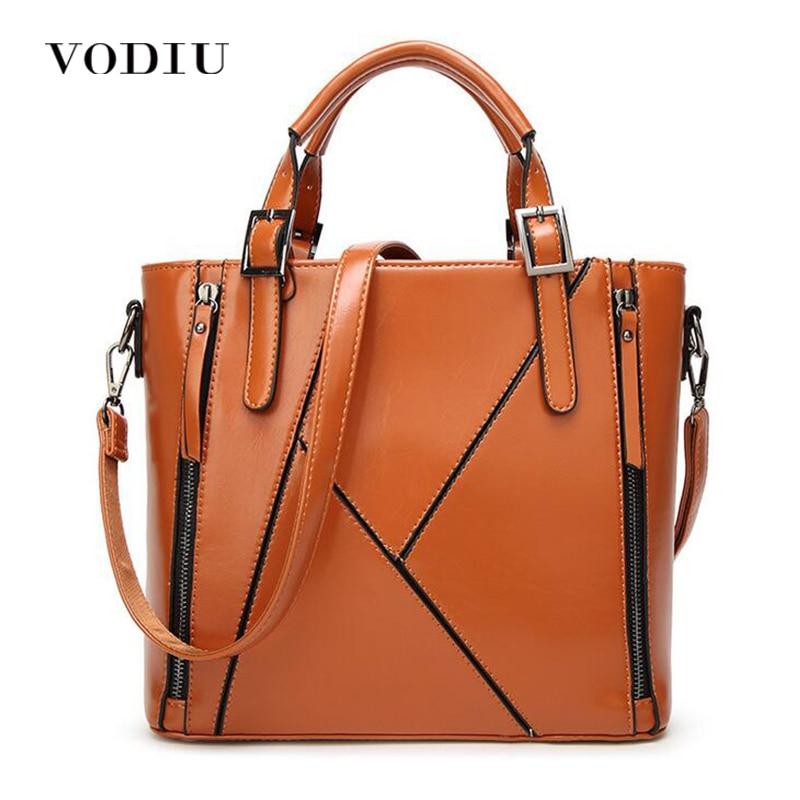 Women Handbag Women Bags Leather Handbag Female Messenger Shoulder Bag Sling Bag Large Totes Zipper Splice Vintage High Quality