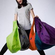 1 шт. Эко хранения сумка-шоппер Складная Площади цвет: черный, синий в полоску многоразовые плечо Сумочка для хранения Продуктовый Сумка разные цвета