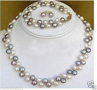 2017 2 Rows Black White Pearl Necklace Bracelet Earrings