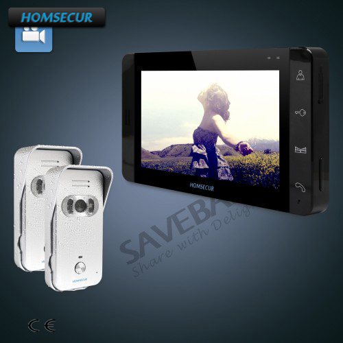 HOMSECUR 7 Wired Video&Audio Home Intercom+Silver Camera for House/Flat 2C1M
