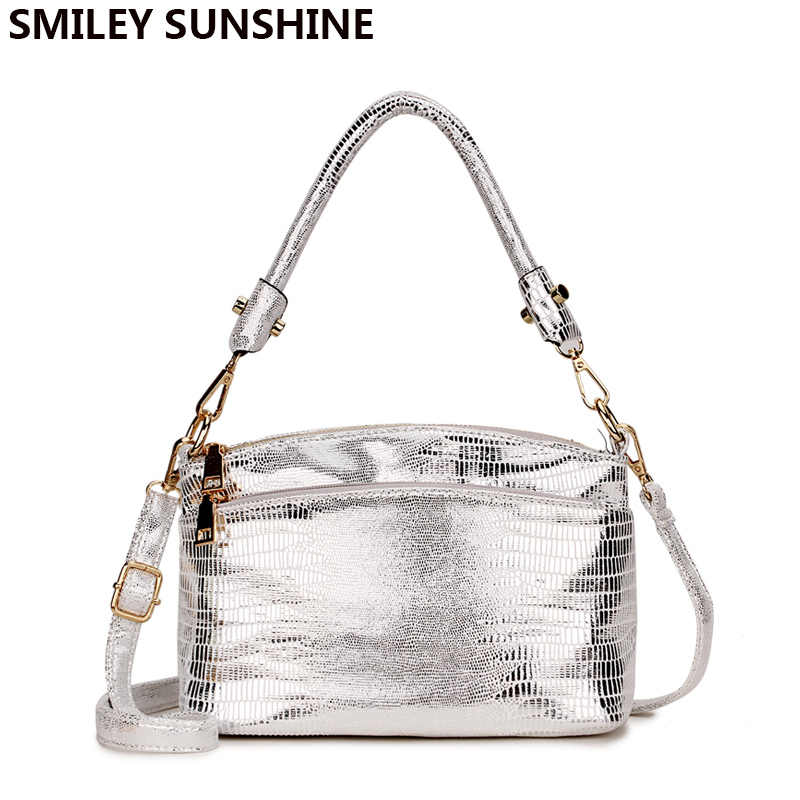SMILEY SUNSHINE Silver Small Messenger Bag Women's Shoulder Leather Womans Handbag Ladies Hand Bags for Women 2018 Crossbody Bag