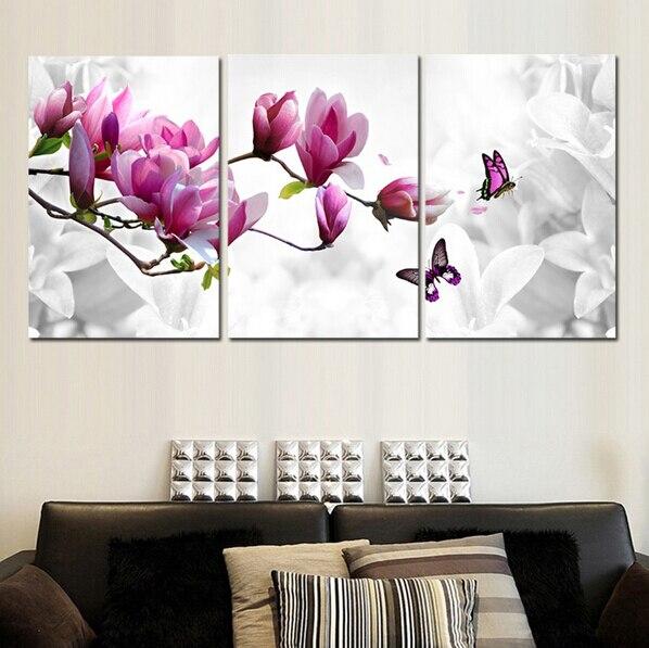 Luxury Elegant 3PCS Canvas Modern Wall Painting Purple Pink Blue Flower Home Decoration Art Picture Paint on Canvas Prints