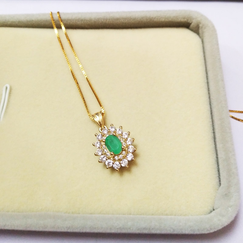 LANZYO 925 srebra smaragdni privjesci poklon za žene nakit smaragdni - Fine nakit