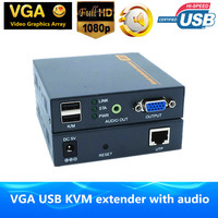660ft VGA USB KVM Extender By Ethernet RJ45 Cat5e/6 Cable 1080P VGA Video Audio Transmitter Keyboard Mouse Extender Over TCP IP