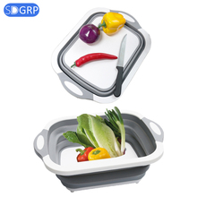 Foldable Cutting Board Multi-Function Kitchen chopping Blocks Washable Vegetable Fruit Washing Basket outdoor camping tools