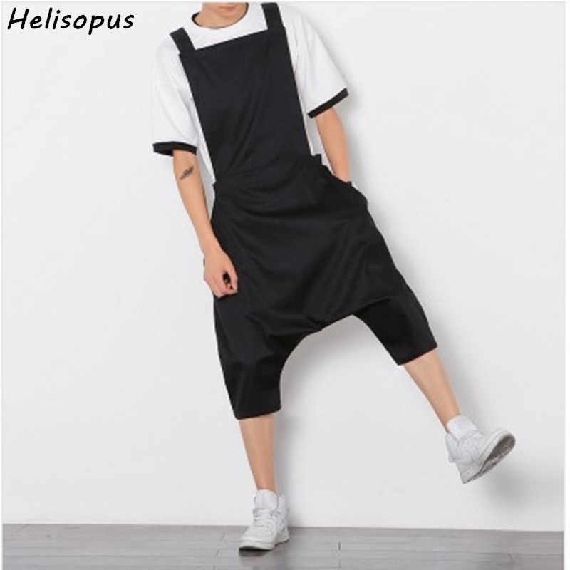 f202f7c5b16 Detail Feedback Questions about Helisopus Men Fashion Casual Loose Jumpsuit  Male Bib Hip Hop Low Crotch Black Harem Pants Overalls Plus size on ...
