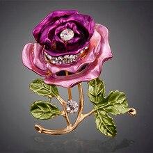 Розовая брошь-цветок с кристаллами Женские лучшие свадебные аксессуары Esmalte эмалированная брошь-кнопка Colares Violetta фиолетовая брошь#010