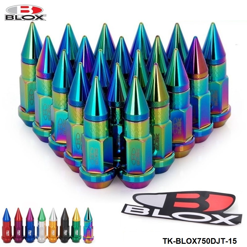 20PC Blox 50MM M12X1.5 High Quality Aluminum Extended Tuner Wheels Rims Lug Nuts With Spike TK-BLOX750DJT-15 цены
