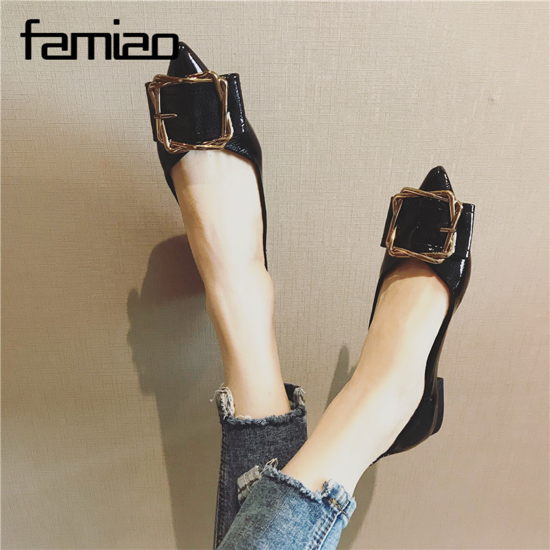 FAMIAO New Arrival Patent Leather Flat Women Ballet Flats Shoes Women Plus Size 41 Black Square Toe Bowtie Shoes Black For Lady new arrival shallow mouth round toe women flat shoes sweet lady girls bowtie metal slip on shoes cute boat shoes plus size 35 41