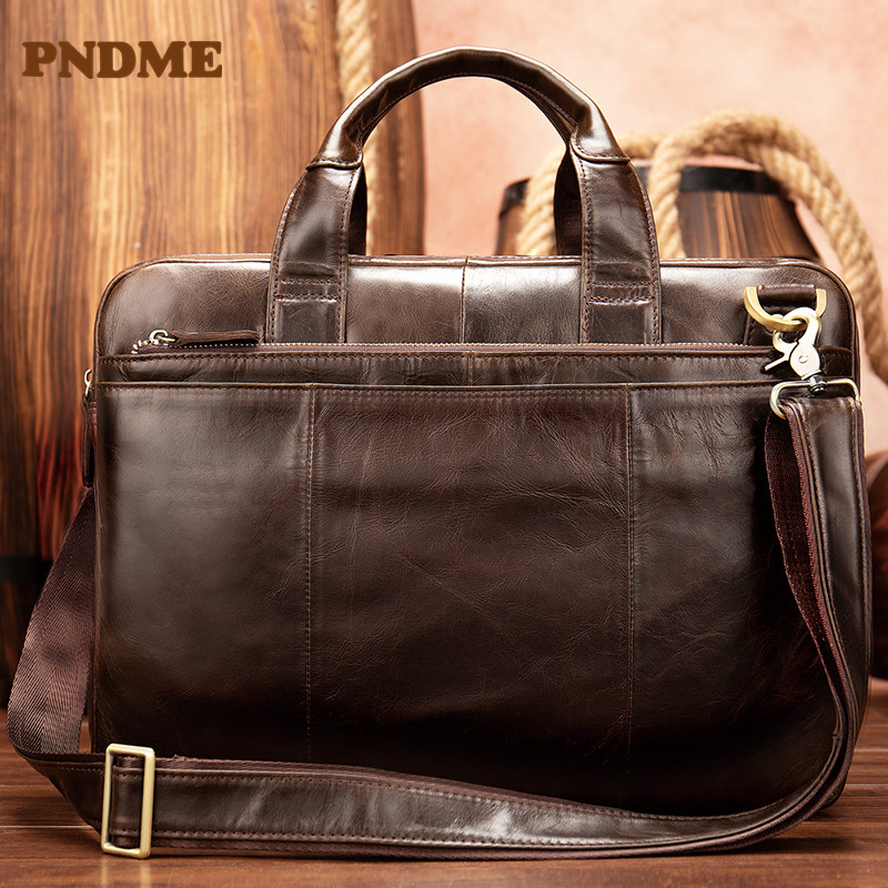 Man's Head Layer Cowhide Large Capacity Briefcase Oil Wax Leather Business Bag Imported Cowhide Man's Bag