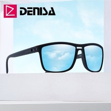 DENISA Blue Mirror Polarized Sunglasses Men 2019 New Super