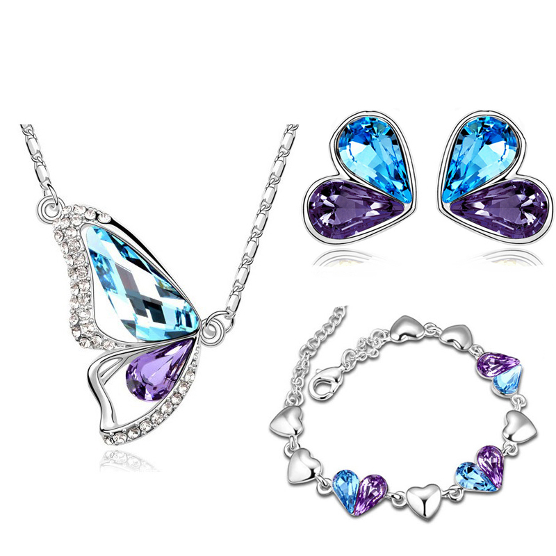 Austrian Crystal butterfly dragonfly Pendant necklace earrings bracelet fashion Jewelry sets free shipping romantic Brand design