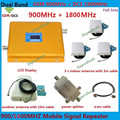 LCD Display Dual Band GSM DCS 900 1800 Mobile Signal Repeater , GSM 4G LTE FDD Cellular Signal Booster Amplifier with 3 Antennas