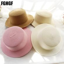 FGHGF Childern Straw Hat Solid Wide Brim Boater Hat Summer B