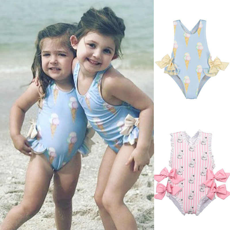 Sun Protection Swimming Suit Ruffle Beachwear Happy Cherry Girls One Piece Swimsuit UPF 50