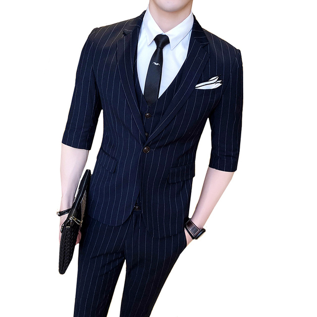 f781e66894dc 2018 new summer Single Breasted suit men Business Casual half sleeves  stripe Slim fit blazer wedding