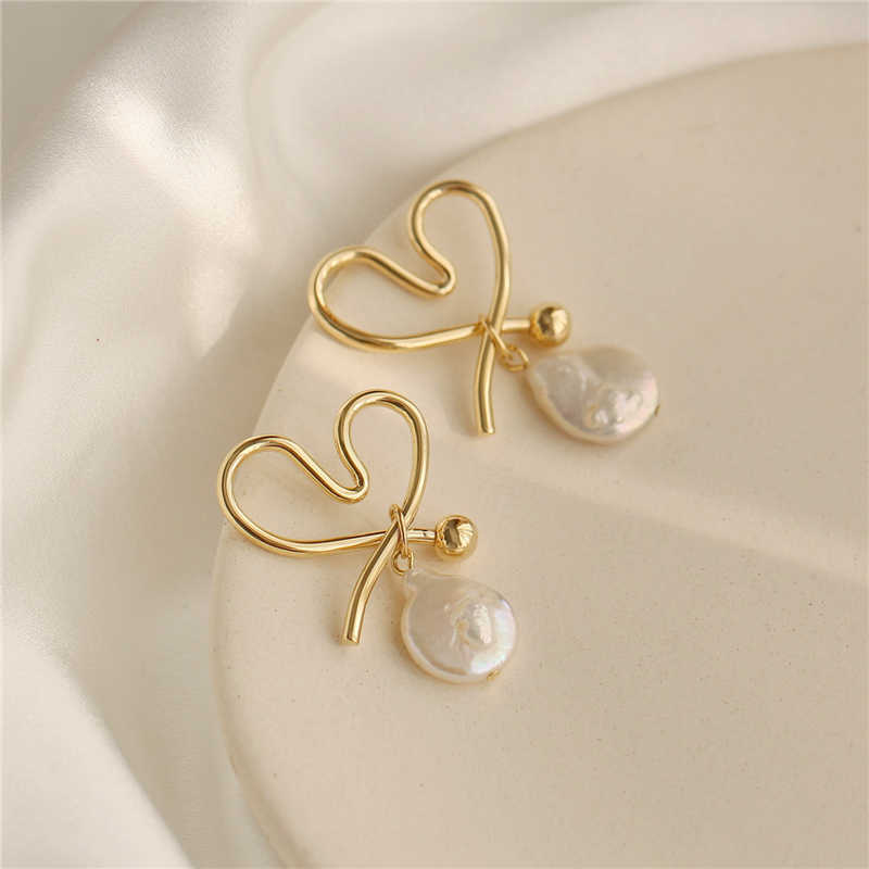 MENGJIQIAO New Japan Korean Irregular Natural Freshwater Pearl Drop Earrings For Women Metal Line Heart Shape Pendientes Jewelry