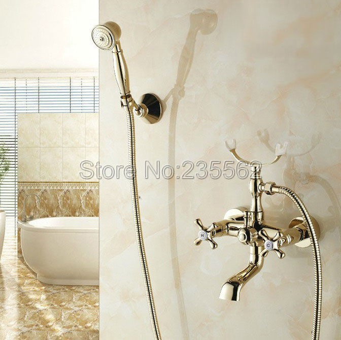 Gold Color Brass Bathroom Shower Bathtub Faucet Wall Mounted Dual Handle Cold & Hot Water Mixer Tap + Handheld Shower ltf133 china sanitary ware chrome wall mount thermostatic water tap water saver thermostatic shower faucet