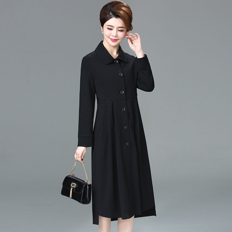 2019 autumn winter new arrival trench coat women elegant medium long slim turn down collar outerwear