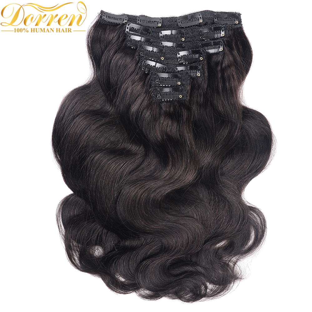 200G Full Head Clip In Human Hair Extensions Brazilian Machine Made Remy Hair 100% Human Hair Natural Black Color By UPS(China)