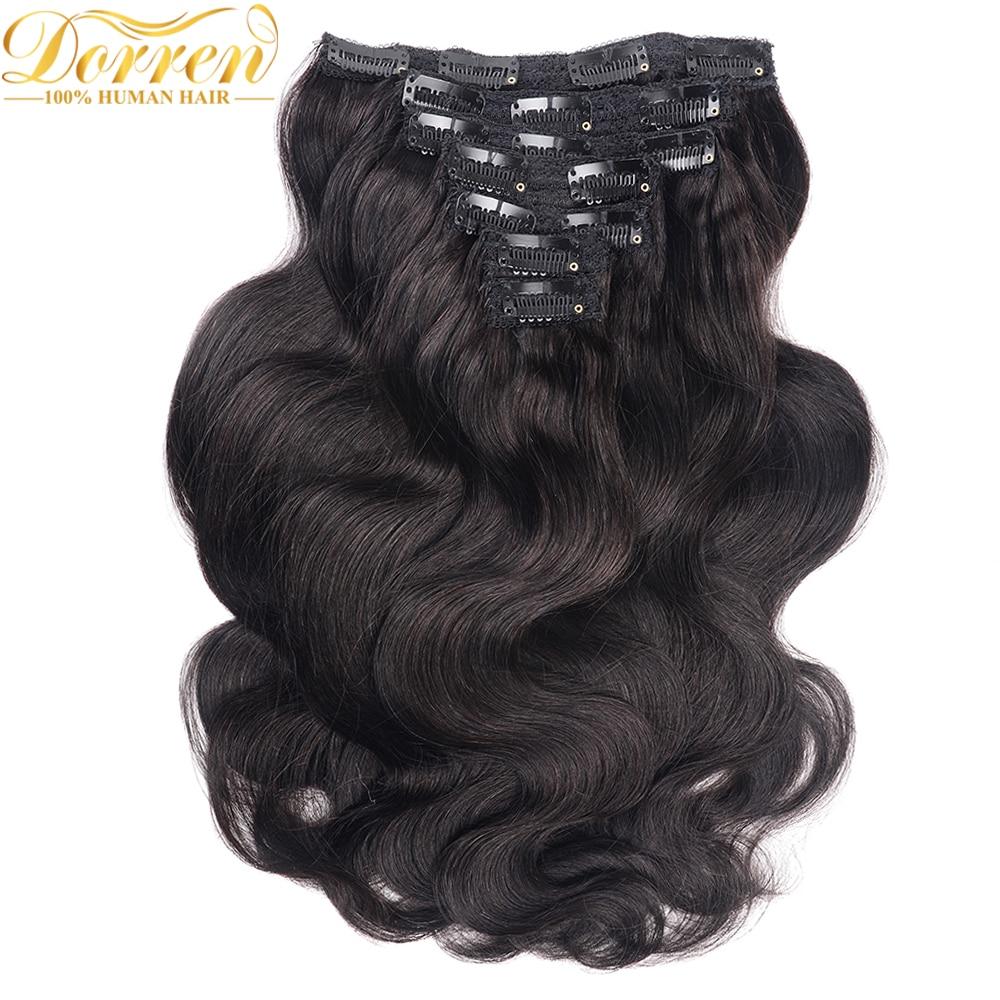 200g cabeça cheia grampo em extensões do cabelo humano máquina brasileira feita remy cabelo 100% cabelo humano cor preta natural por ups