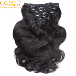 200G Full Head Clip In Human Hair Extensions Brazilian Machine Made Remy Hair 100% Human Hair Natural Black Color By UPS
