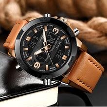 Часы наручные lige мужские светодиодные цифровые модные брендовые