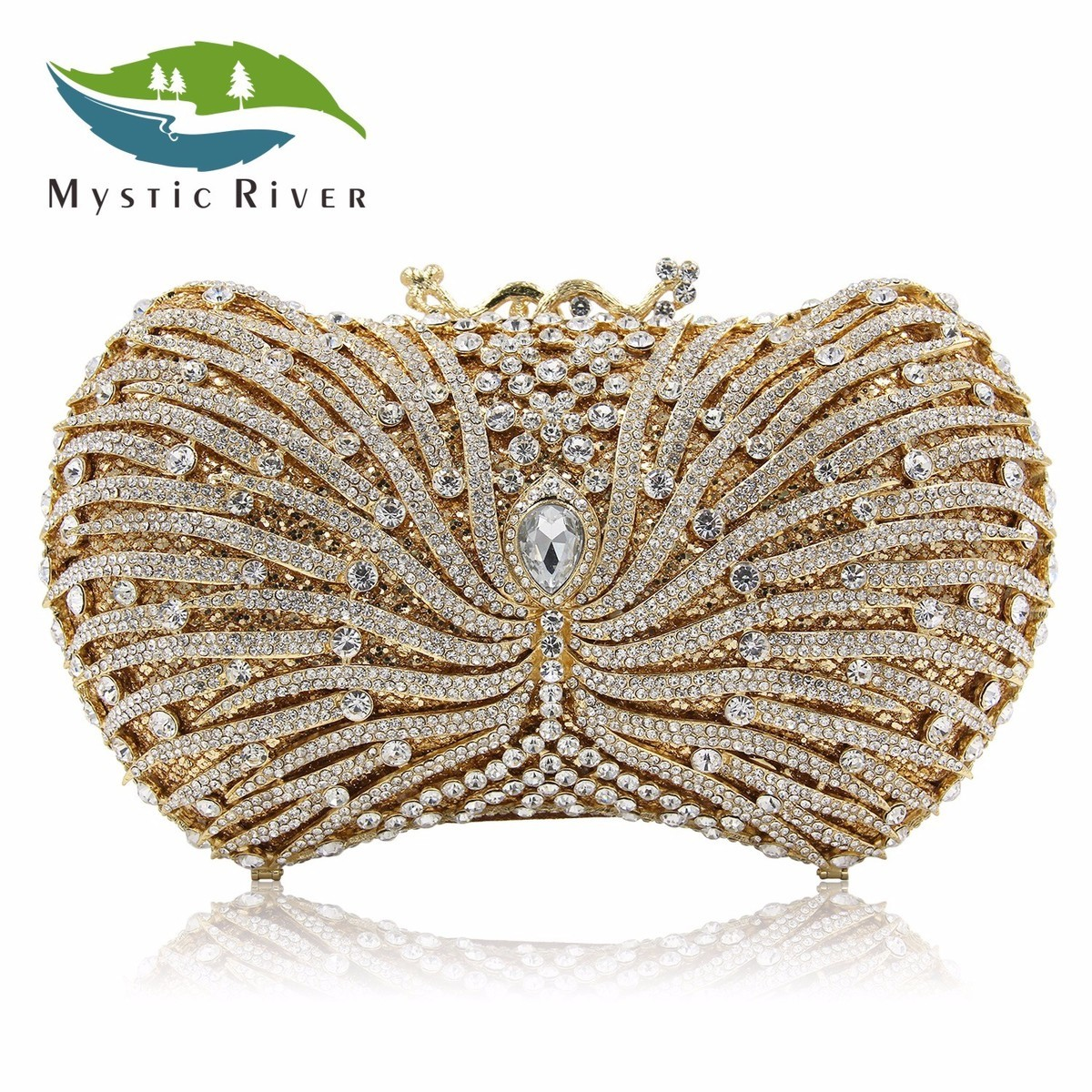 Mystic River New Women Evening bags Luxury Diamond Handbag Crystal Clutches Mini Party Wedding Purse Red Chain as16 9 rose top fashion luxury diamond african handbag purse for party wedding