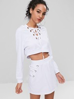 Top None O neck Cotton Fashion And American Women's Free Shipping 2018 Exposed Belly Shirt With Rope Straps Skirt Casual Sets
