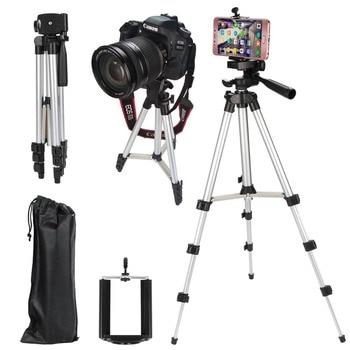 Four floor high Professional Aluminum Camera Tripod Stand Holder + Phone Holder +Nylon Carry Bag for iPhone Samsung Smartphone