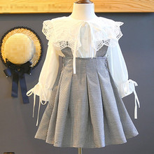 Bear Leader Girls Dress 2018 New Autumn England Style Lace Long Sleeve Shirt + Plaid Strap Dress For Princesss 3-7 Years