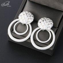 Badu Silver/Gold Zinc Alloy Earrings for Women Hollowing Round Pendant Dangle Drop Earring Fashion Jewelry Wholesale