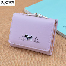 Womans wallet Fashion Women Wallets short Style Little dog functional Purse Fresh leather Female Clutch Card holder 374
