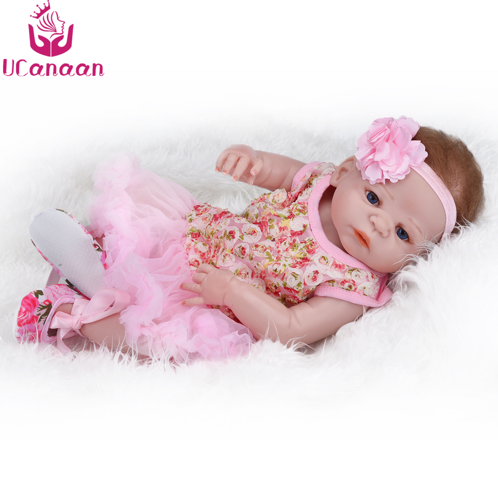 UCanaan Doll Reborn 55CM Silicone Baby Alive Dolls For Children Handmade Blue Eyes Baby Born Realistic Toys For Girls Collection