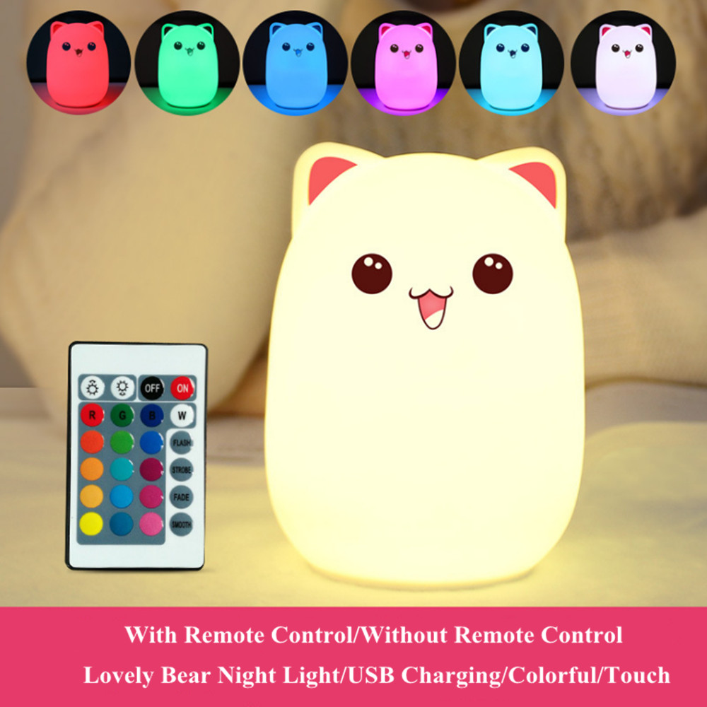 Touch Sensor Colorful Cat LED Night Light Remote Control RGB Silicone USB Rechargeable Bedroom Bedside Lamp for Children Baby