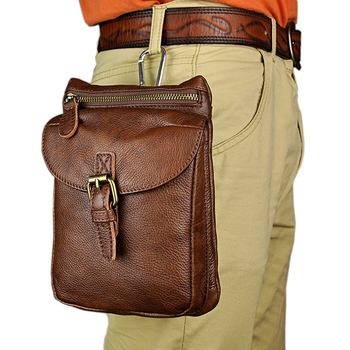 Fashion Vintage Style Men Genuine Leather Small Waist Bags Mini Fanncy Pack Shoulder Bags Travel Casual 8inch Camera Phone Packs
