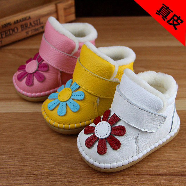 2016 Flower Winter Infant Shoes Toddlers Baby Snow Boots Soft Kids Cotton Shoes Enfant Winter Baby Girl Warm Boots First Walkers
